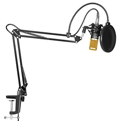 Neewer NW-800 Microfono a Condensatore Professionale per Trasmissioni Registrazioni in Studio & NW-35 Braccio a Forbici Sospensione per Microfono con Supporto Anti-vibrazione e Serratura da Tavolo