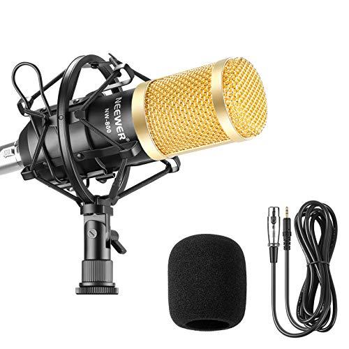 Neewer NW-800 Studio - Set microfono a condensatore professionale NW-800, con assorbimento degli urti, a sfera anti-vento, in schiuma, cavo di alimentazione per microfono