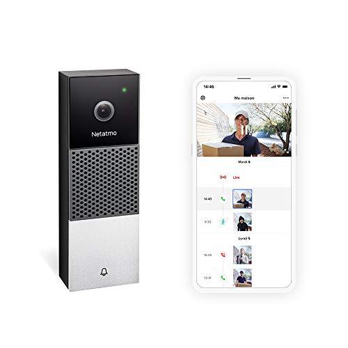 Netatmo - Campanello video intelligente WI-FI, audio, rilevamento di persone, senza costi di abbonamento, telecamera HD 1080p, visione notturna, impermeabile per esterni, NDB-FR