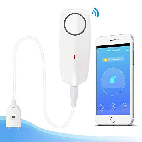 Newgoal Sensore di allarme acqua con rilevatore di perdite WiFi da 60 dB, perdite di monitoraggio remoto per pompa di scarico scaldabagno, notifica APP TUYA/Smart Life