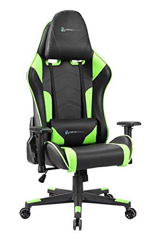 Newskill Kitsune - Sedia da gioco professionale (regolabile in altezza e inclinazione, braccioli 2D regolabili, base in nylon, reclinabile a 180º), colore verde