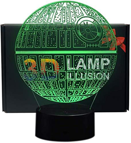 NHSUNRAY Lampada 3D Della Morte Stella 3D Illusione Luce Notturna 7 Colori Touch Lampada Arte Scultura Luci Regalo di Compleanno per Bambini Camera Da Letto Decor