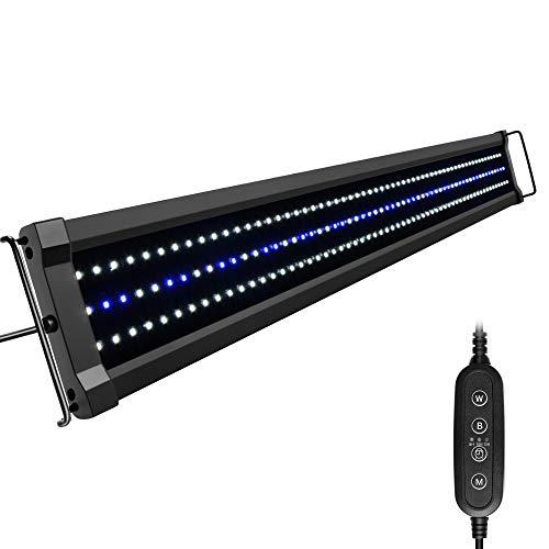 NICREW ClassicLED G2 Lampada Acquario, Plafoniera LED per Acquario, Luce Acquario Impermeabile con 2 Canali di Controllo, Luci Bianche e Blu, 90-125 cm, 32W 2500LM