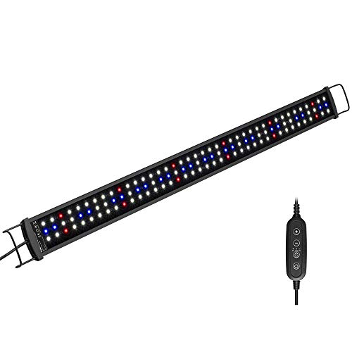 NICREW SilmLED Lampada LED Acquario con Timer, LED Acquario con Luce a Spettro Completo Regolabili per Piante Acquatiche, 75-90 cm, 20 W, 1300 LM