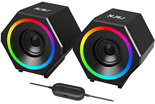 NJSJ Altoparlanti Computer,10 W 2.0 USB Casse con bassi stereo migliorati, luce LED RGB Colorata, ingresso AUX da 3,5 mm, Multimediali per Desktop, Laptop, Tablet,Cellulare
