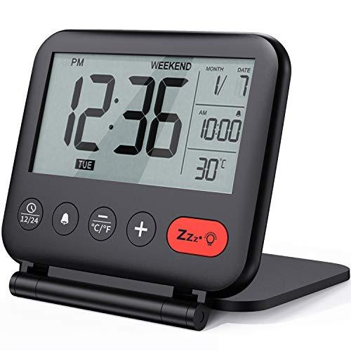 NOKLEAD Sveglia da viaggio digitale - Mini orologio display LCD portatile retroilluminazione Calendario Temperatura Snooze Specchio per il trucco, orologio pieghevole per camera da letto (nero)