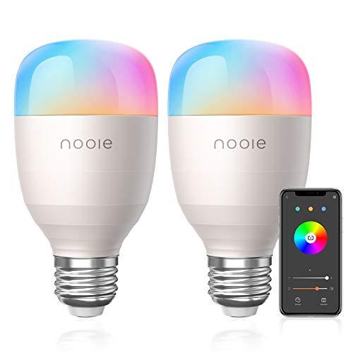 Nooie Lampadine LED Wifi Intelligenti E27 800 lumen Multicolore 10W UL listed Compatibile con Alexa e Google home, 2800k-6000k A19, RGB 10W con Programmazione Accensione e Timer Wifi 2.4Ghz, pacco 2