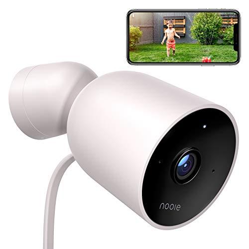 Nooie Telecamera IP esterno,Telecamera di Sicurezza,1080P HD Telecamera di Sorveglianza WIFI,conIP66, Audio a 2 Vie, Visione Notturna e con Allarme Antifurto, Funziona con Alexa