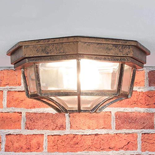 nostalgico Plafoniera per esterno lampada per esterni ROSSO NERO ANTICO/IP44/PRESSIONE ALLUMINIO & VETRO / E27 fino 60W / RUSTICO LUCE PLAFONIERA FATTORIA GIARDINO TERRAZZA