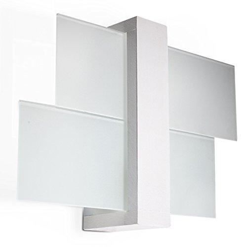NOVITÀ! Applique Bianco per salotto e corridoio - vetro e legno - SOLLUX FENIKS 1 SL.0079 lampada a muro quadrata, stile moderno, a luce singola LED E-27 *** LAMPADE - I prezzi più bassi su Amazon!