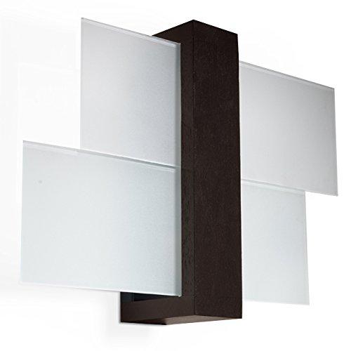NOVITÀ! Applique Wenge per salotto e corridoio - vetro e legno - SOLLUX FENIKS 1 SL.0075 lampada a muro quadrata, stile moderno, a luce singola LED E-27 *** LAMPADE - I prezzi più bassi su Amazon!