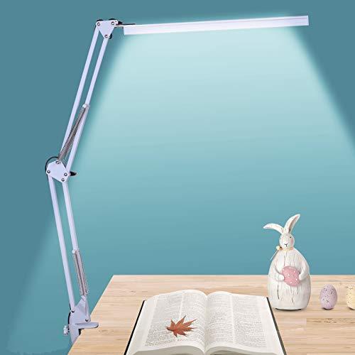NovoLido - 10W Lampada da Scrivania a Led, 3 Modalità Colore e Regolazione Continua, Lampada da tavolo per Architetto con Braccio Oscillante in Metallo, Funzione di Cura Degli Occhi e Memoria (Bianco)