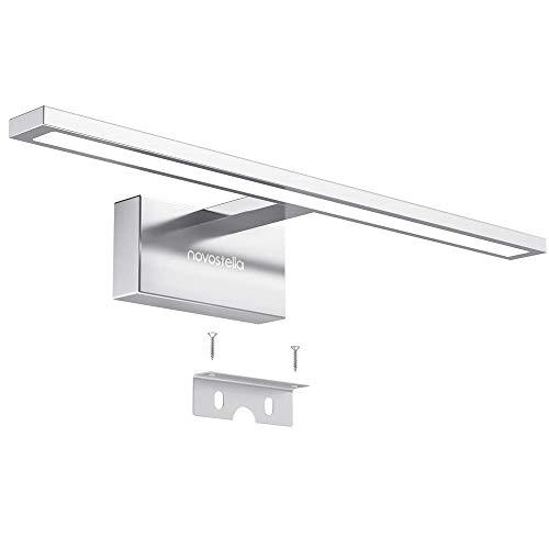 Novostella 10W Luce Specchio Bagno, 800LM LED Alluminio Illuminazione Bagno, Bianco Freddo 6000K, Impermeabile IP44, Applique Faretto Specchio Arredo Bagno 400x125x 95 mm