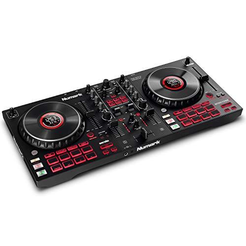 Numark Mixtrack Platinum FX - Console DJ per Serato DJ con 4 decks, mixer DJ, scheda audio integrata, jog wheel con display e palette effetti
