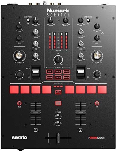 Numark Scratch - Mixer Scratch a 2 Canali per DJ + Serato DJ Pro, Crossfader Innofader, Licenza DVS, 6 Selettori per Effetti, Pad Performance