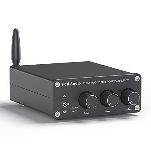 [Nuova Versione] Bluetooth 5.0 Amplificatore Stereo Audio, 2 Canali Mini Hi-Fi Classe D Integrato Amp, per Altoparlanti Passivi Domestici - Fosi Audio BT20A (BT20A-B)