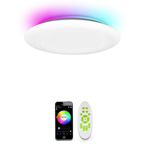 OFFDARKS LED Plafoniera compatibile con Amazon Alexa+Google Assistant,intelligente WiFi Plafoniera per soggiorno camera da letto camera dei bambini,luminosità regolabile,luce colorata,APP+telecomando