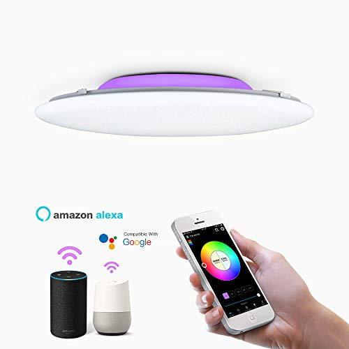 OFFDARKS Smart WiFi Plafoniera Compatibile con Amazon Alexa e Google Assistant, Moderna lampada da soffitto a LED dimmerabile Cambia colore Atmosfera Party, per soggiorno Camera da letto Luce notturna