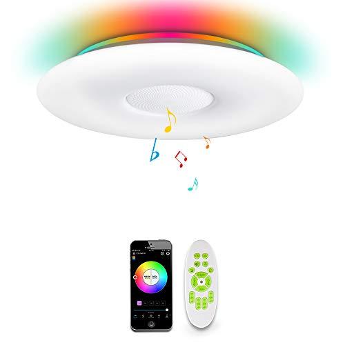 OFFDARKS WiFi LED Plafoniera compatibile con Amazon Alexa Google Assistant, soggiorno camera dei bambini camera da letto, altoparlante Bluetooth, luminosità regolabile+luce colorata, app e telecomando