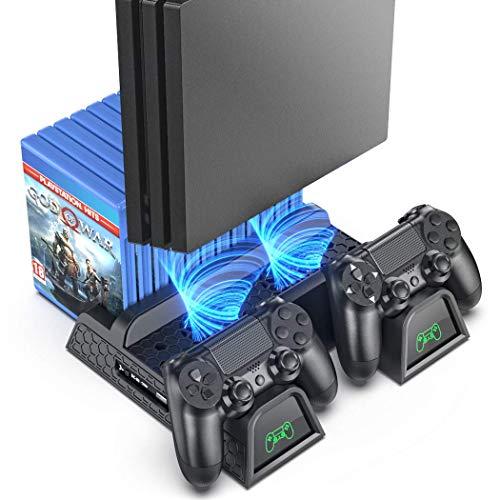 OIVO PS4 Supporto Verticale con Ventola di Raffreddamento, Stazione di Ricarica per Dual Controller con Indicatori LED e Conservazione per 12 Giochi per PS4 / PS4 Slim / PS4 PRO