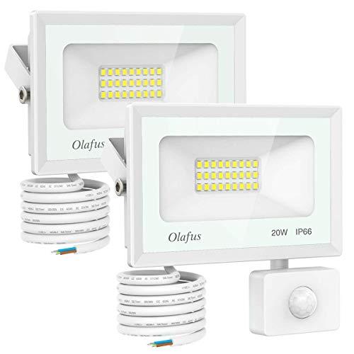 Olafus 2 Pezzi 20W Faretto LED da Esterno con Sensore di Movimento 1800lm 5000K IP66 Impermeabile Faretto con Sensore Luce Bianca Fredda Distanza di Sensore 6m-12m per Corridoio Giardino Garage