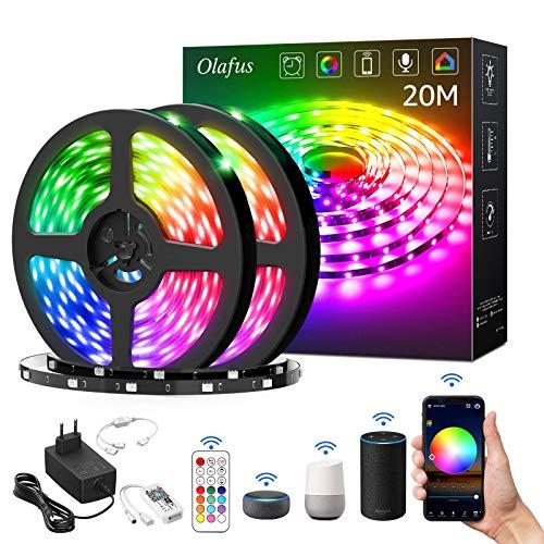 Olafus 20M Striscia LED RGB Alexa, Strisce LED Smart WiFi Controllo da APP e Vocale, 16 Milioni Colori Dance con Musica, Strip LED 600 LEDs Luminoso Funzione con Alexa e Google per Festa Arredo