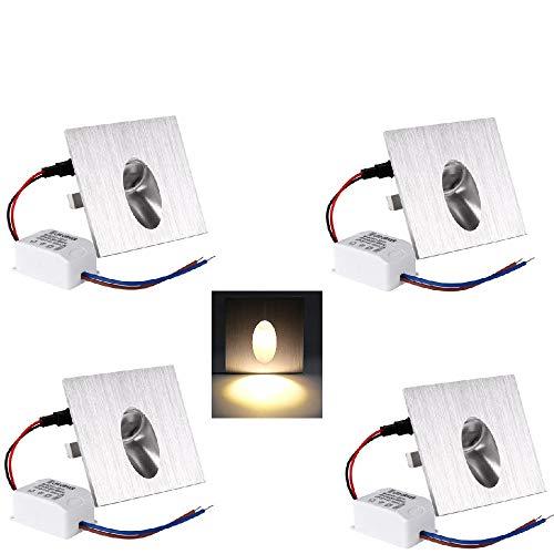 OLEEP Faretto da incasso a LED, lampada quadrata LED da parete, per scale, corridoi, verande, cantine, lampada da terra, 1 W, CA 230 V, Bianco caldo, 4 Pack