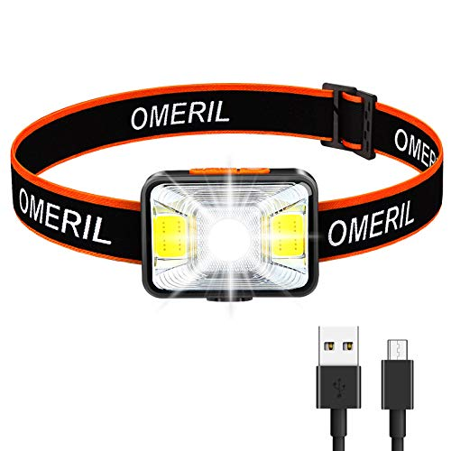 OMERIL Lampada Frontale LED, USB Ricaricabile Torcia Frontale con 5 Modalità di Illuminazione, Luce da Testa IPX5 Impermeabile Luce Frontale Adatto a Bambini e Adulti,Campeggio,Corsa,Pesca,Ciclismo