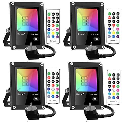 Onforu 4 Pezzi 12W Faretto LED RGB Esterno, Proiettore Colorato Dimmerabile con Telecomando, IP66 Impermeabile proiettore RGB Funzione di Memeria per Decorazione Festiva di Natale, Halloween, Giardino