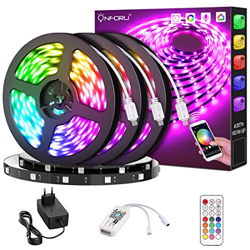 Onforu Smart Striscia LED, 15M Striscia LED Intelligente Compatibile con Alexa Echo e Google Home, Striscia RGB con Telecomando, 5050 Striscia LED RGB WIFI Sincronizza Musica per Giardino, Bar, Festa