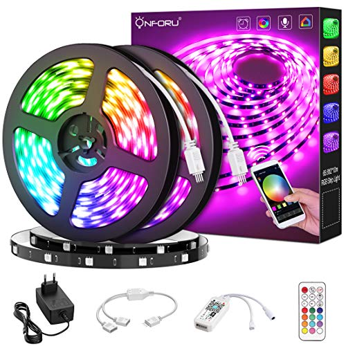Onforu Smart Striscia LED, 20M Striscia LED Intelligente Compatibile con Alexa Echo e Google Home, Striscia RGB con Telecomando, 5050 Striscia LED RGB WIFI Sincronizza Musica per Giardino, Bar, Festa