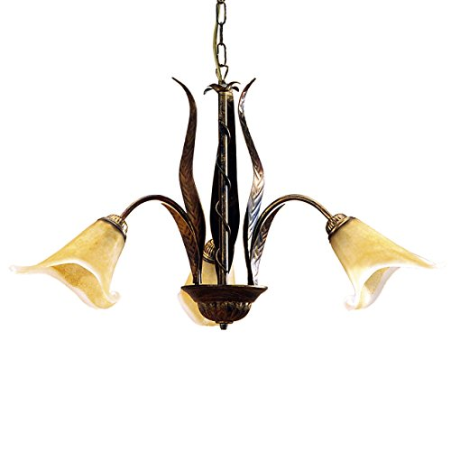 ONLI 4230/3 Lampadario 3 luci in metallo marrone spennellato oro con vetri ambra, 65 x 100 cm