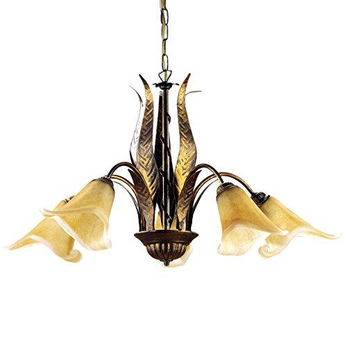 Onli 4230/5 Lampadario 5 luci in Metallo con vetri Ambra, Marrone, 75 cm, metallo;vetro