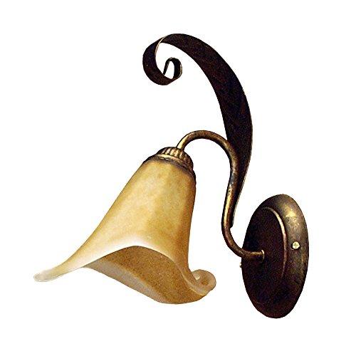 ONLI 4230/Ap Applique in Metallo Marrone spennellato Oro e Vetro Ambra