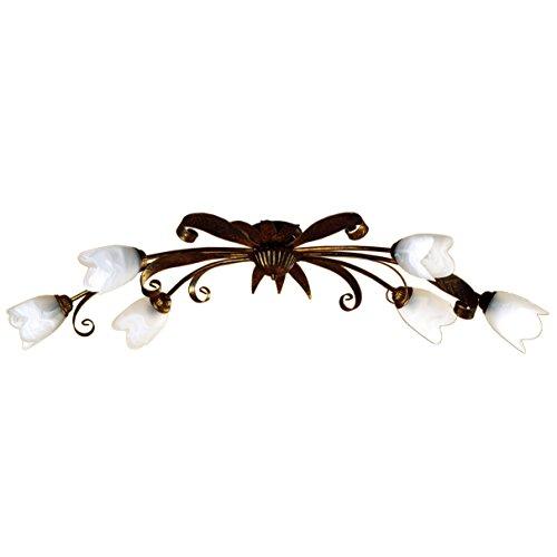 Onli 4240/PL6 Lampadario, Marrone/Bianco, 6 luci, metallo;vetro