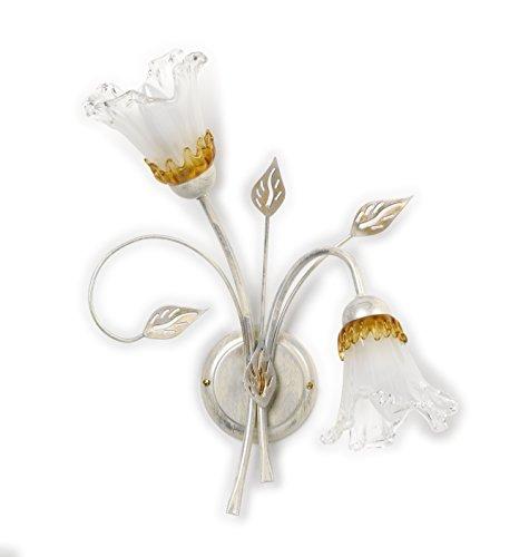 ONLI - applique da parete 2 luci in metallo bianco e argento con sfumature oro. Vetri a forma di calla. 2 x E14