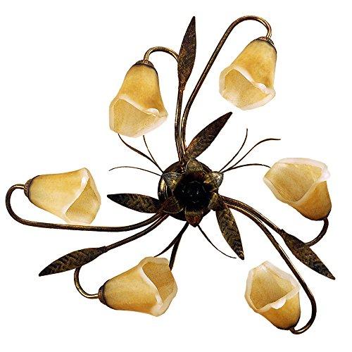 ONLI Forgiata - Lampada da Soffitto 6 Luci, Vetro opaco color Ambra, Metallo Marrone spennelato Oro