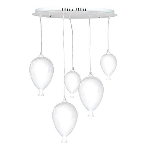 ONLI Lampada a Sospensione con Palloncini in Vetro bianco. Lampadine LED-G9 Incluse