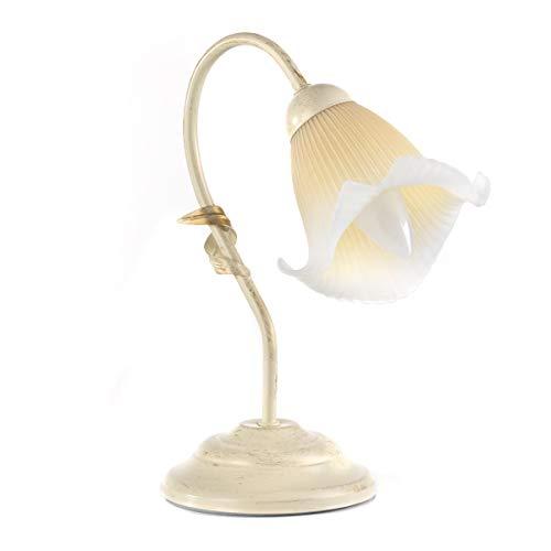 ONLI Lampada da Tavolo in Metallo Avorio spennellato Oro con Vetro Plissé sfumato Ambra