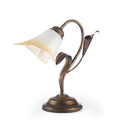 ONLI - Lampada da tavolo in metallo marrone spennellato oro con vetro bianco sfumato ambra