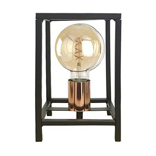 ONLI Lampada da Tavolo Stile Urban Floki in Metallo Nero e portalampada Color Rame, 14 x 14 cm, altezza 23cm