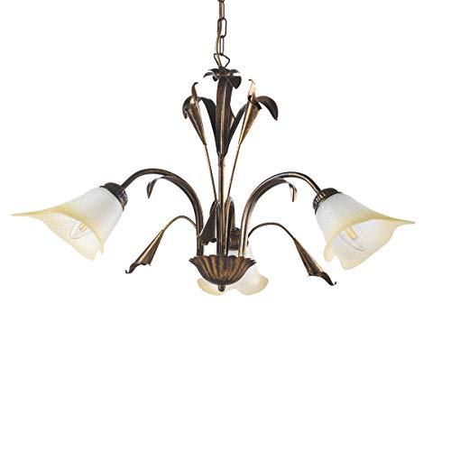 ONLI - Lampadario 3 luci in metallo marrone spennellato oro con vetri bianchi sfumati ambra