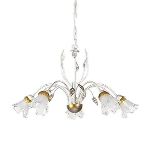 ONLI - Lampadario 5 luci Lancia in metallo bianco spennellato argento con sfumature dorate e calle in vetro. 5 x E14, metallo;vetro