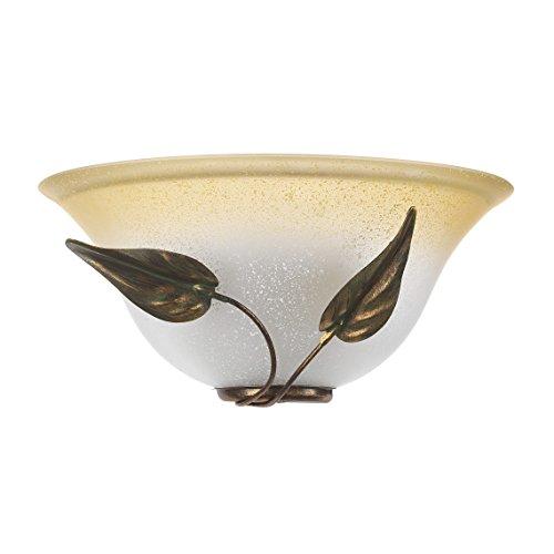 ONLI Mira - Applique in Vetro color Avorio sfumato Ambra e struttura in metallo Marrone spennelato Oro