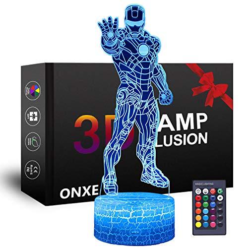 Onxe Led 3D Supereroe Luce Notturna Illusione Ottica Lampada Dimmerabile Usb Touch Control Alimentato Con Base Crepa + Telecomando (Iron Man) 16 Colori