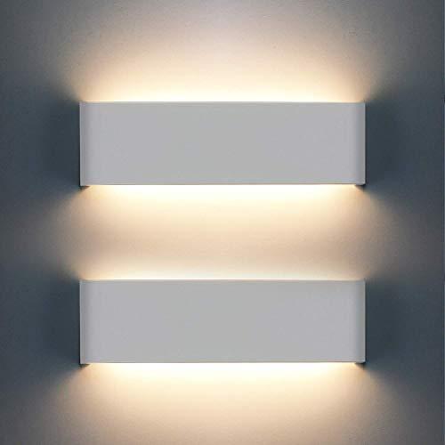 OOWOLF LED Lampada da Parete Interno 12W 1200LM, 2 Pezzi Applique da Parete Interno Moderno, Lampade per Interni, 3000K Bianco Caldo per Camera da Letto, Soggiorno, Scale, Corridoio