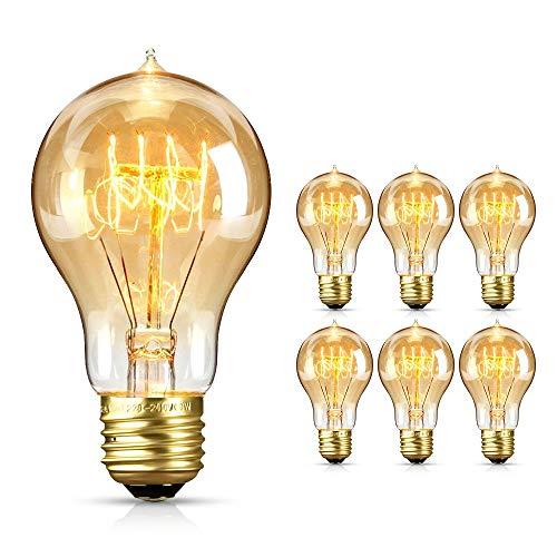 opamoo Lampadina Edison Vintage E27 4W 220V Edison Vintage Light Bulb Dimmerabile Filamento Bianco Caldo Lampadina LED 2700K Vintage Antique Light Bulb per Nostalgia e Retroilluminazione (6 pezzi)