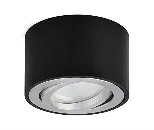 OPPER LED Faretto da soffitto Lampada Montata A Superficie orientabile 230V,Include modulo LED intercambiabile da 5W 3000K bianco caldo Faretti Led Ø80x50mm, rotondo Nero spazzolato