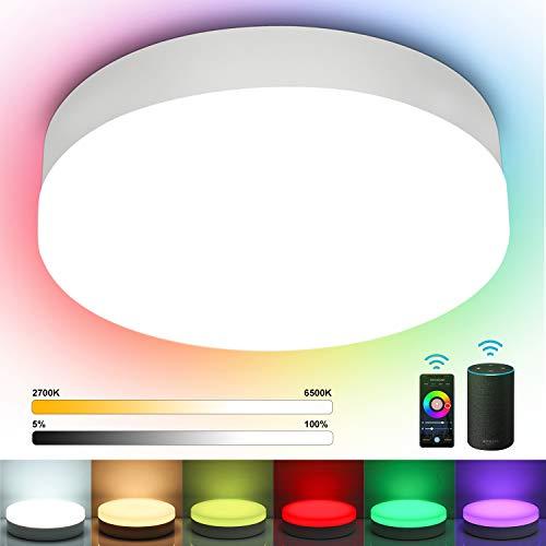 Oraymin Alexa 12W Plafoniera LED WiFi 1200LM, 16 Milioni RGB + Bianco Regolabile 2700-6500K, Lampada da soffitto IP54, Controllo da App e Voce, Compatibile con Alexa e Google Home