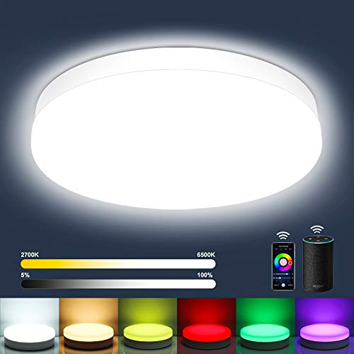 Oraymin Lampada da Soffitto a LED Dimmerabile 12W, Smart WiFi (RGB + Bianco Freddo Fino a Bianco Caldo 2700K– 6500K), 1200LM IP54 per Cameretta dei Bambini, Sala Giochi, KTV